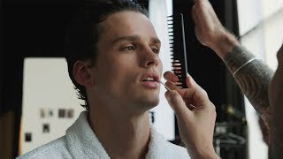 Go behind-the-scenes at supermodel Simon Nessman's Vogue Hommes cover shot