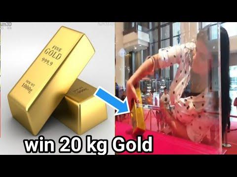 Gold bar challenge in glass box   win 20 kg   Aya Info 