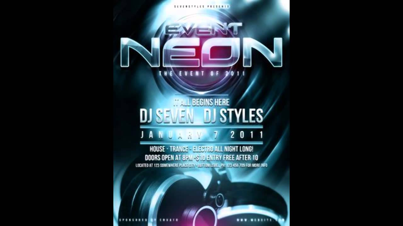 Neon Poster Flyer Template Free - YouTube
