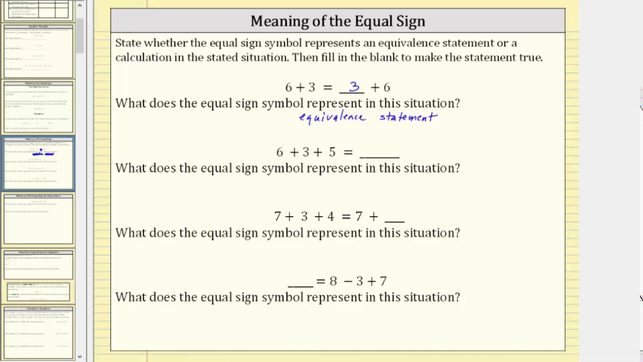 The meaning of an equal sign equivalence or calculation youtube the meaning of an equal sign equivalence or calculation biocorpaavc Image collections