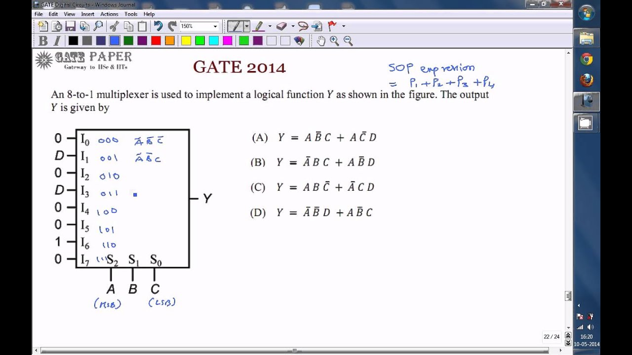 gate 2014 ece boolean expression realized by 8 to 1 multiplexer [ 1280 x 720 Pixel ]