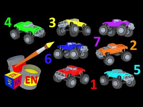 Thumbnail: Learn colors and learn to count with mighty monster trucks. Educational cartoon for children