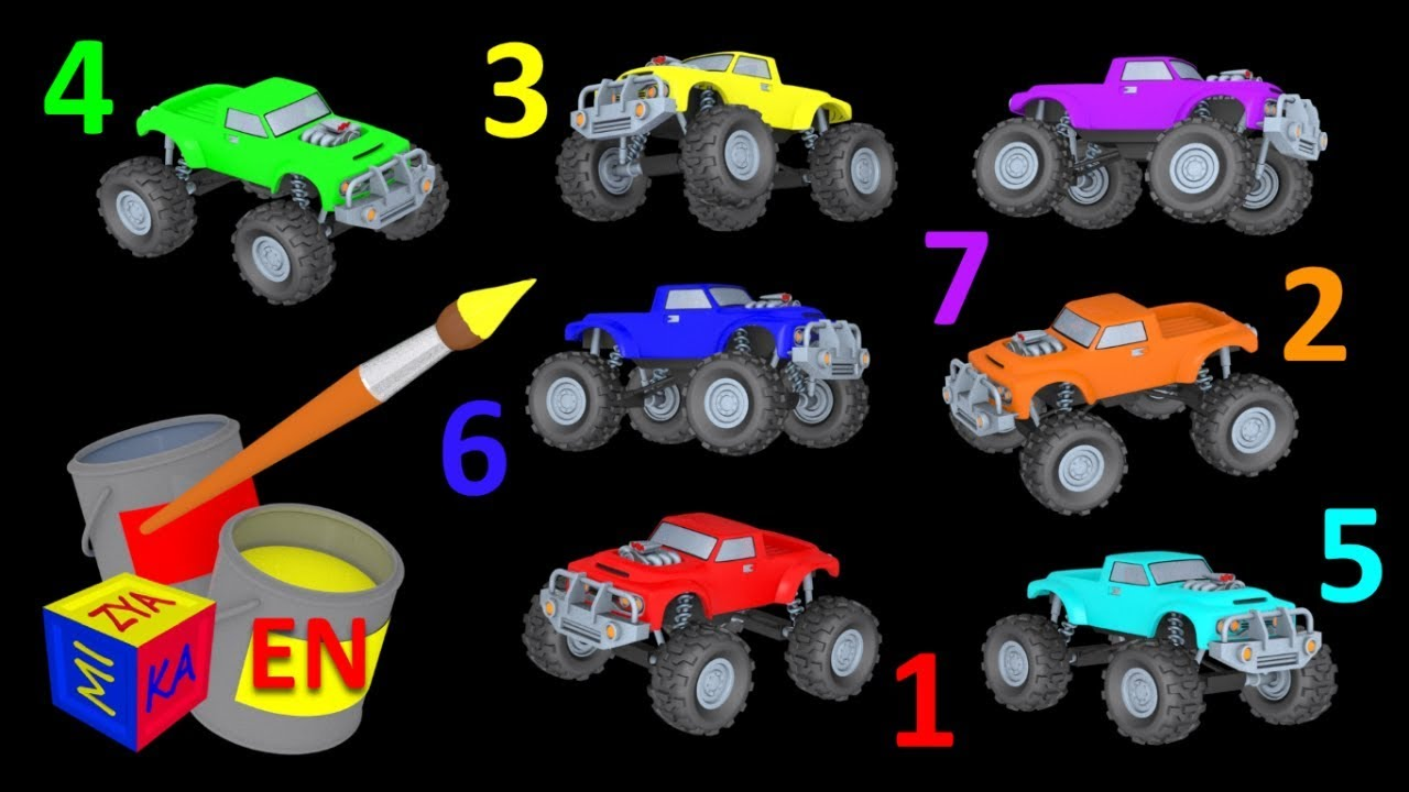 Learn Colors And Learn To Count With Mighty Monster Trucks