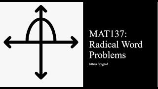 MAT137: Quadratic Word Problem (chapter 11)