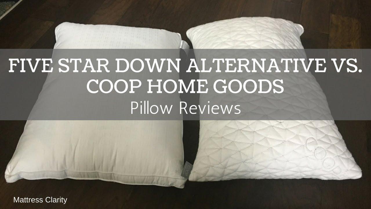 pillow reviews five star down alternative vs coop home goods