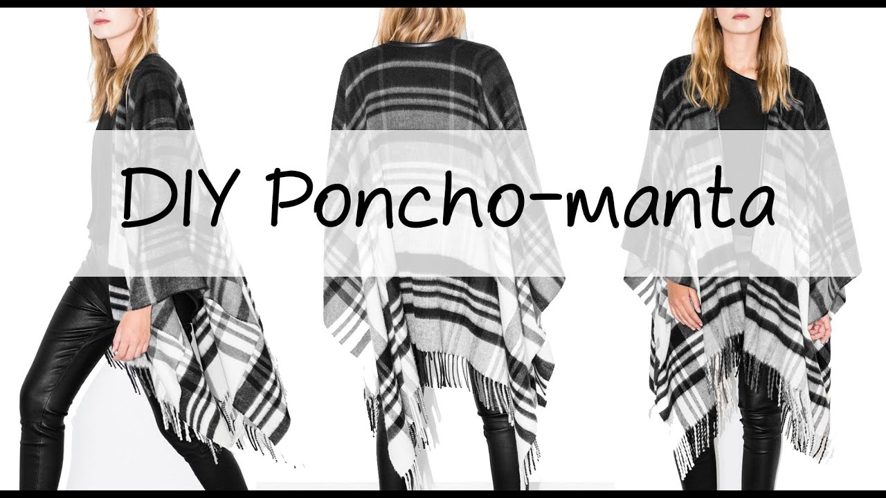 DIY | Un poncho-manta en 2 pasos ♡ - YouTube