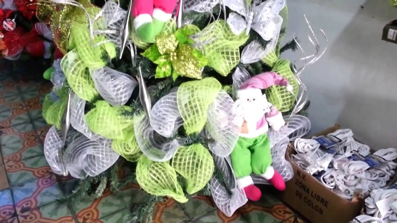 Decoracion arboles de navidad 2017 mallas verdes parte 8 - Arbol de navidad decorado ...