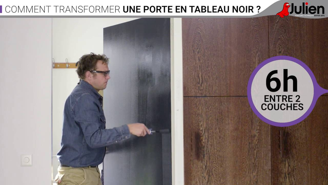comment transformer une porte en tableau noir peintures julien youtube. Black Bedroom Furniture Sets. Home Design Ideas