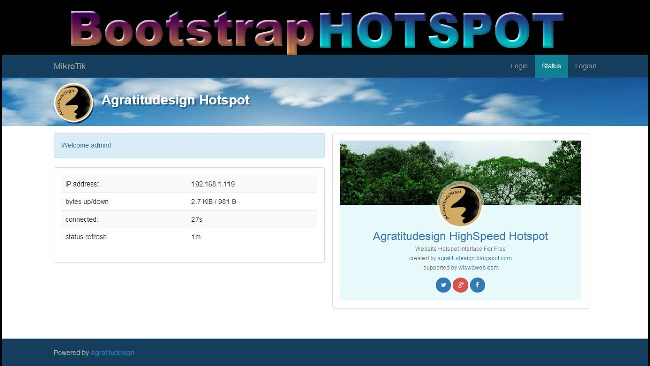 Creating internal hotspot web interface login page on for It web page