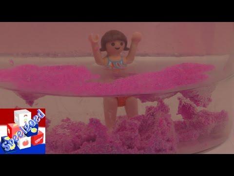Aqua Sand Demo in het Playmobil zwembad – Roze en paars Aqua Sand