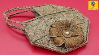 DIY Jute Bag - How to Make Handmade Jute Bag   DIY Purse Making   Ladies HandBag with Jute Rope