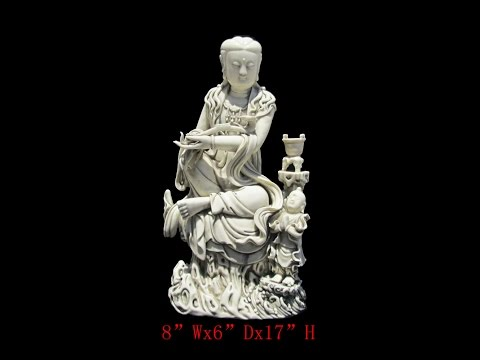 Unique Chinese Antique Porcelain Sitting KwanYin w/Kid Statue WK2830