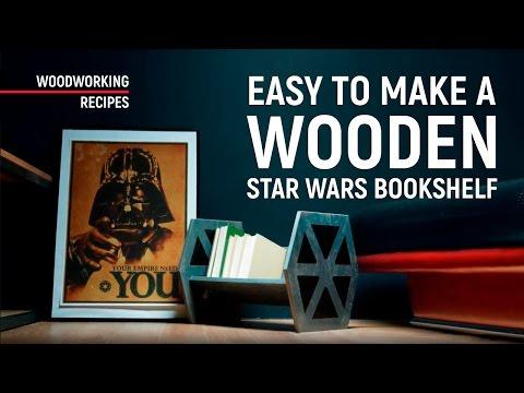DIY Star Wars TIE Fighter wooden bookshelf