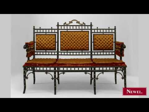 Antique French Victorian style faux-bamboo design ebonized