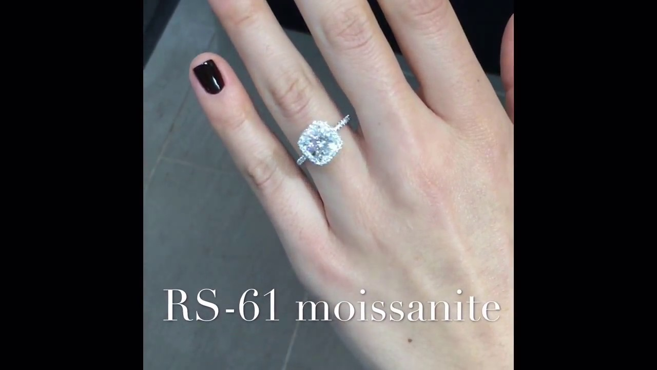Best 2 carat Cushion Cut Moissanite Halo Engagement Ring - YouTube OV46