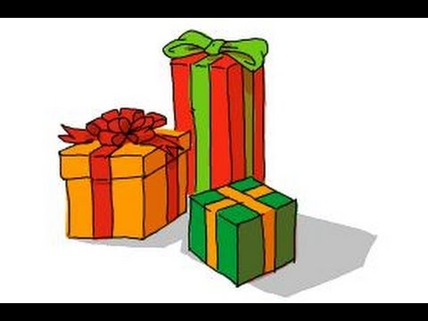 Drawings Of Christmas Presents.How To Draw Christmas Presents