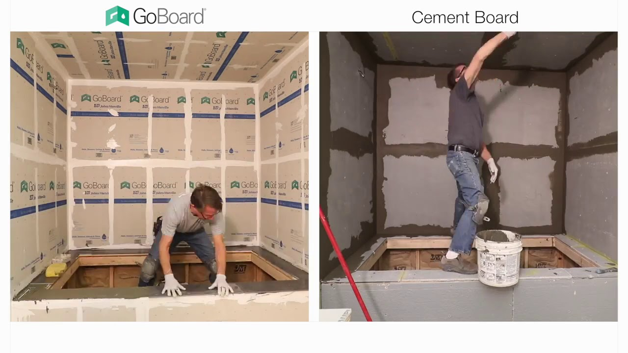 GoBoard vs Cement Board Shower Installation - YouTube