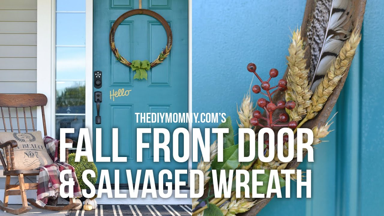 fall front door decorationsDIY Fall Front Door Decor Ideas  Salvaged Fall Farmhouse Wreath