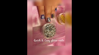 Tutorial how to apply the glitter on nails