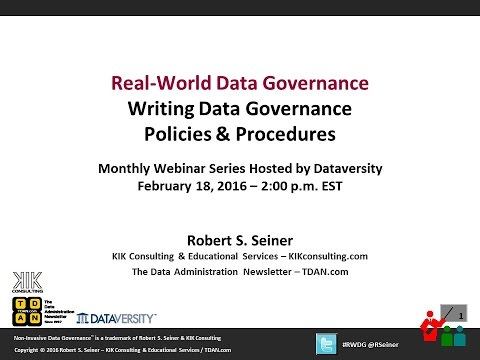 RWDG Writing Data Governance Policies & Procedures