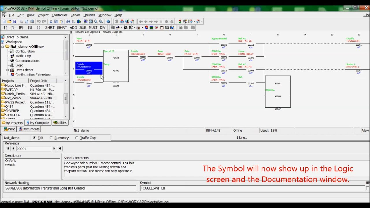 Enabling Symbols ProWORX 32 Logic and Documentation Screens ...