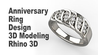 Custom Anniversary Ring - Jewelry CAD Design Tutorial 3D Modeling With Rhino 7 185