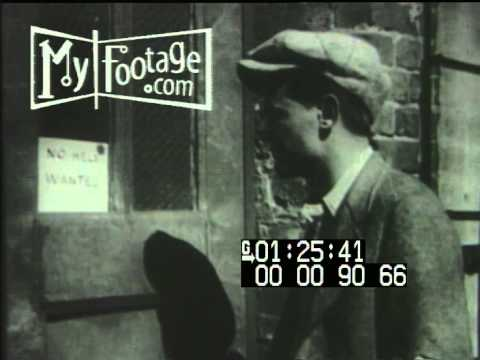Stock Footage - 1930's Great Depression - Homeless, Hungry, Unemployed