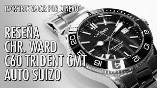 resea christopher ward c60 trident gmt 600 automtico suizo reloj de buceo en espaol