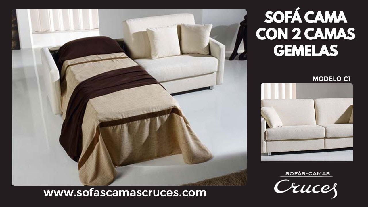 Sof cama con dos camas gemelas youtube for Sofa con dos camas