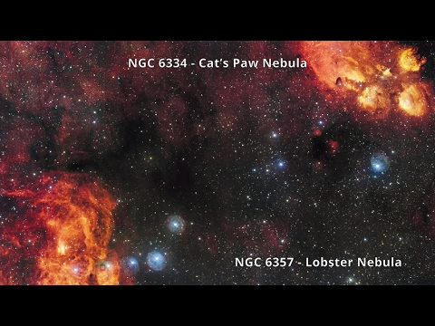 NGC 6334 & NGC 6357 – Cat's Paw Nebula & Lobster Nebula (4K)