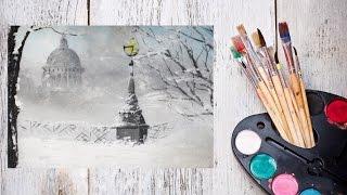 Как нарисовать зимний Петербург акрилом! #Dari Art(Спасибо за идею Инна Музафарова зимний,ночной,осенний,утренний Санкт-Петербург,старый(старинный),рождеств..., 2015-11-30T16:28:31.000Z)