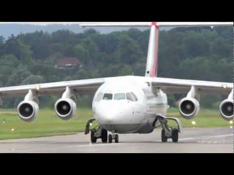 Avro Regional Jet RJ85 Take Off at Airport Bern-Belp