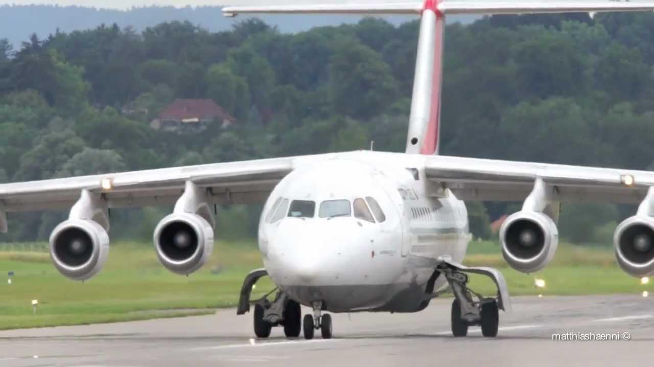 avro regional jet rj85 take off at airport bern belp youtube