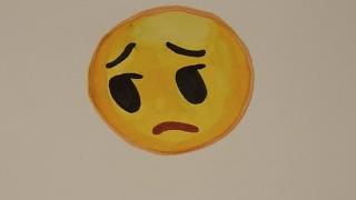 How to draw the sad face emoji | Step By Step |  Haji Draws