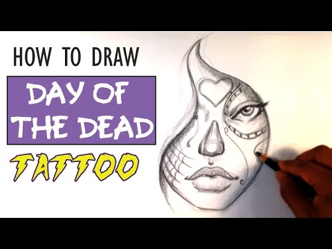 How to Draw a Day of the Dead Girl  Tattoo Art