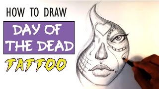How to Draw a Day of the Dead Girl - Tattoo Art