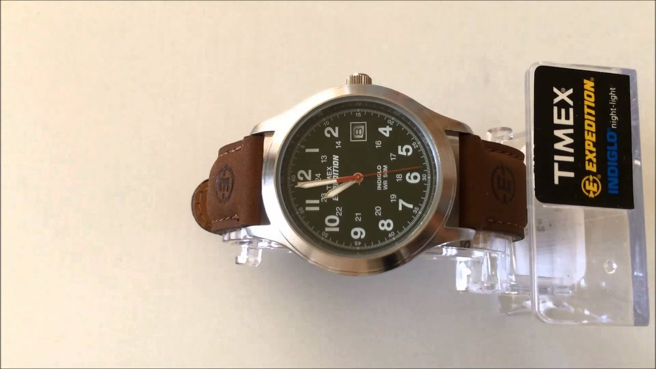 timex menu0027s t40051 expedition metal field olive dial brown leather