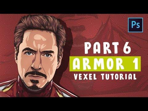 [ Photoshop Tutorial ] Vector / Vexel Art [PART 6 - ARMOR 1 ] (IRONMAN) thumbnail