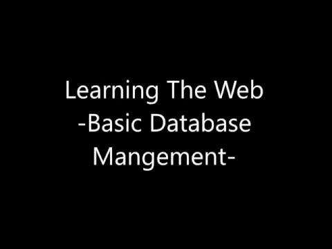 Learning the Web - Basic Database Mangement