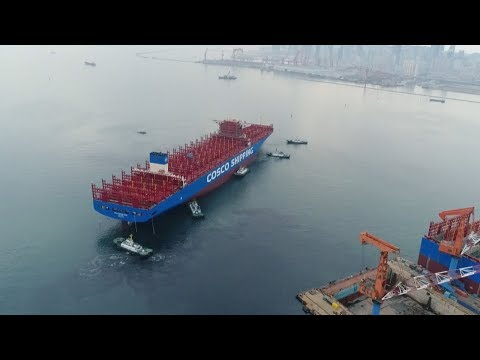 China starts construction of the country's largest container ship