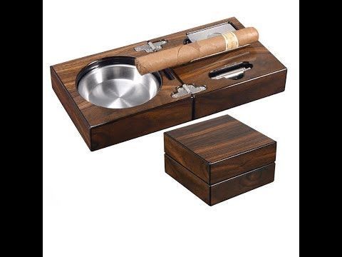 Folding Wooden Portable Cigar Ashtray Set with Cutter Punch Gift Collection