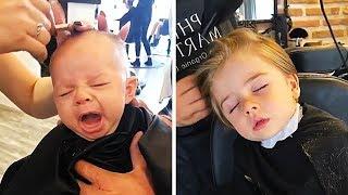 SLEEPY BABY BOYS AND KIDS HAVING HAIRCUTS COMPILATION