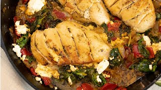 30 Minute Greek Skillet Chicken with SPinach & Peppers