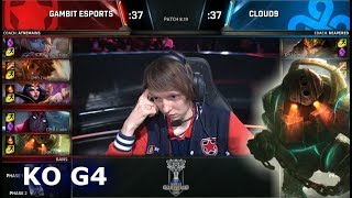 C9 vs GMB Game 4 | Knockout Play-In Stage S8 LoL Worlds 2018 | Cloud 9 vs Gambit Esports G4