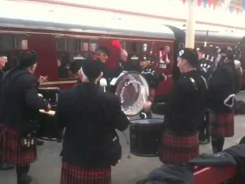 Bolton Caledonia Pipe Band playing as the Flying Scotsman departs Bury station.