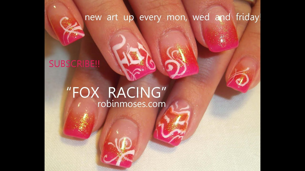 Nail Art Tutorial Diy Fox Racing Nails Design Youtube