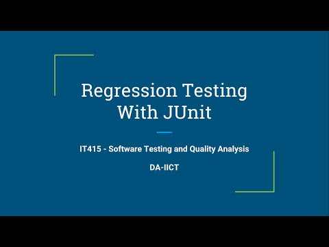 Regression Testing with Junit