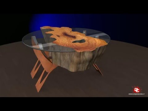 Tavolo irregolare legno e cristallo youtube for Tavolo cristallo e legno