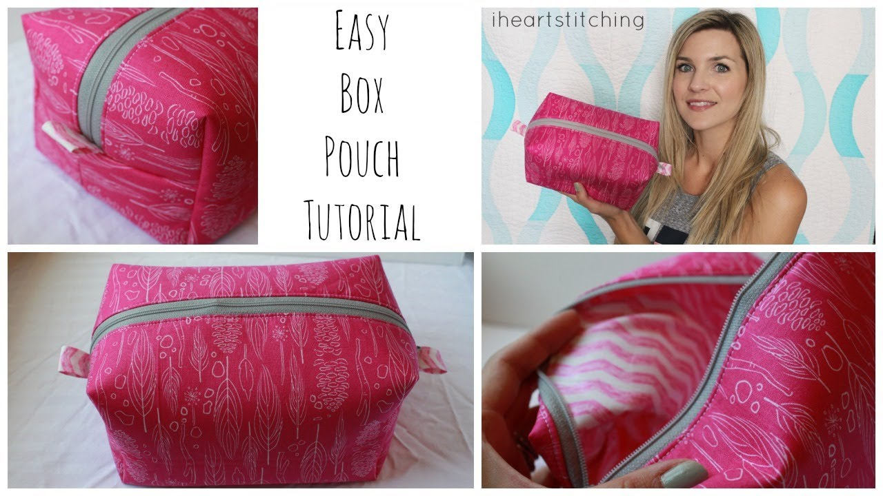 Easy Zippered Box Pouch Tutorial