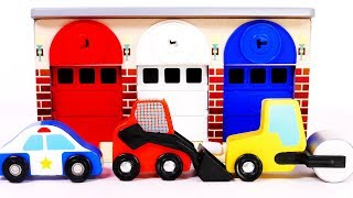Learn Colors with Road Roller Skid Steer and Police Car Vehicles for Children